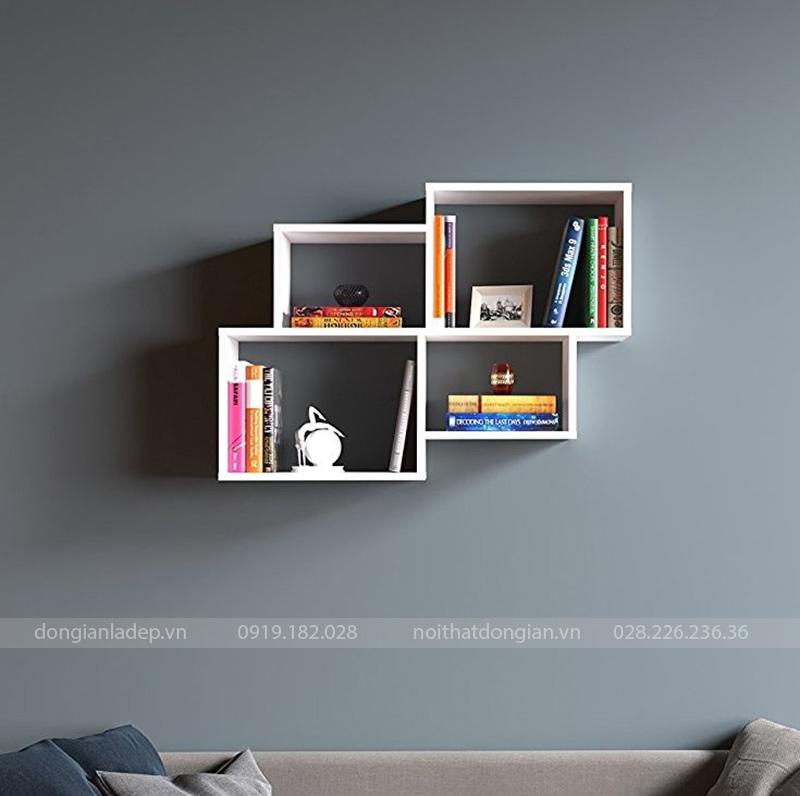 Kệ sách treo tường màu trắng đơn giản