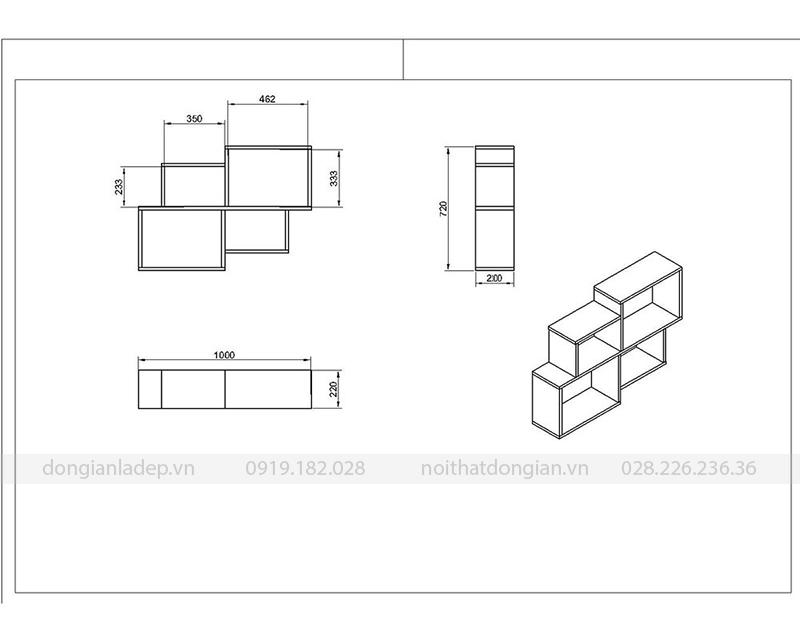 Kích thước kệ sách treo tường đơn giản KT224