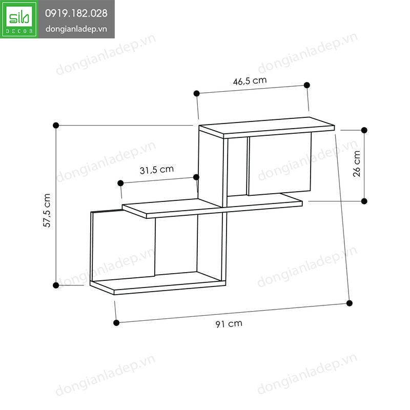 Kích thước chi tiết của kệ gỗ treo tường KT209