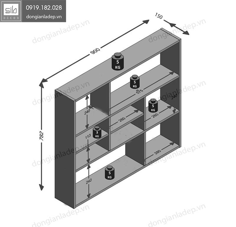 Kích thước kệ gỗ treo tường KT202