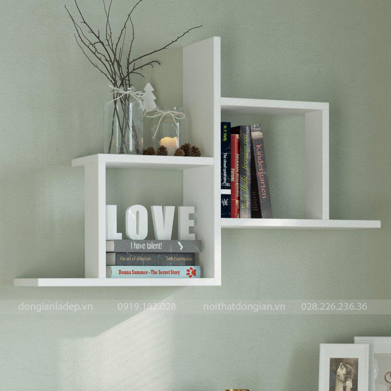 Kệ trang trí treo tường màu trắng KT231
