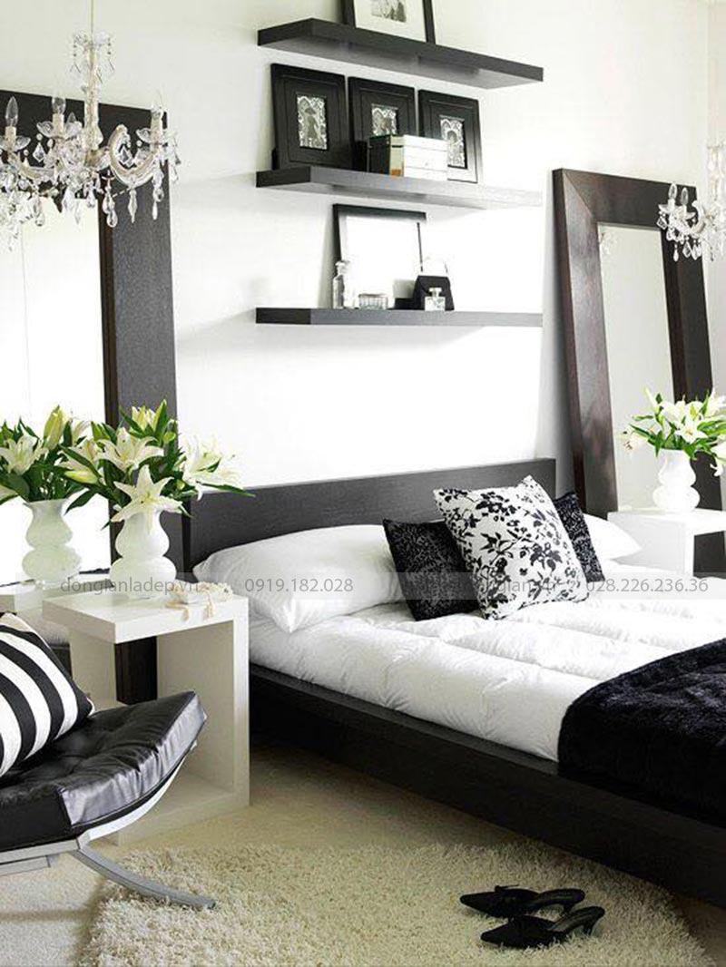 Bộ 3 kệ treo tường màu đen 80cm đầu giường