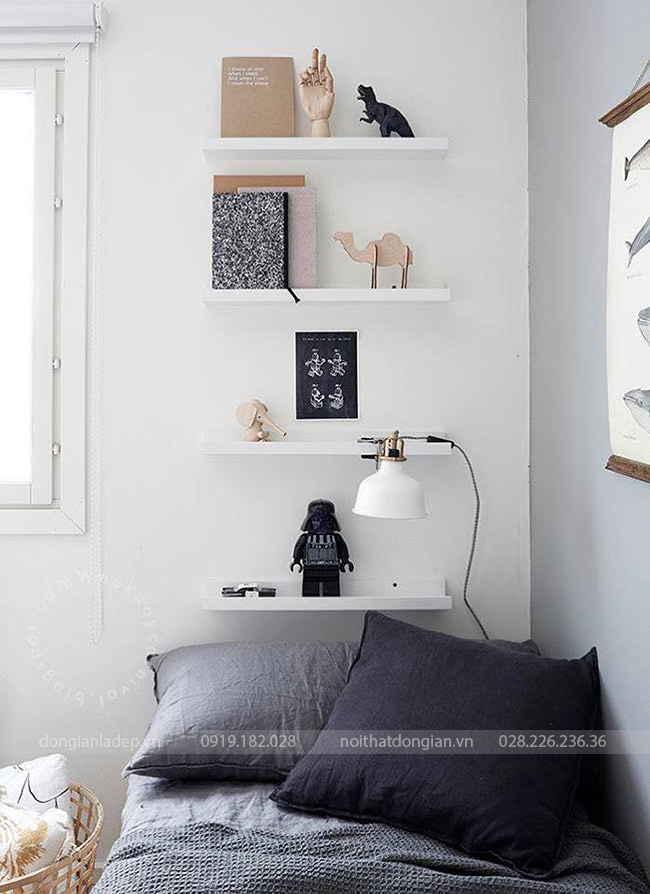 Bộ 4 kệ thanh ngang treo tường 60x20 trên đầu giường