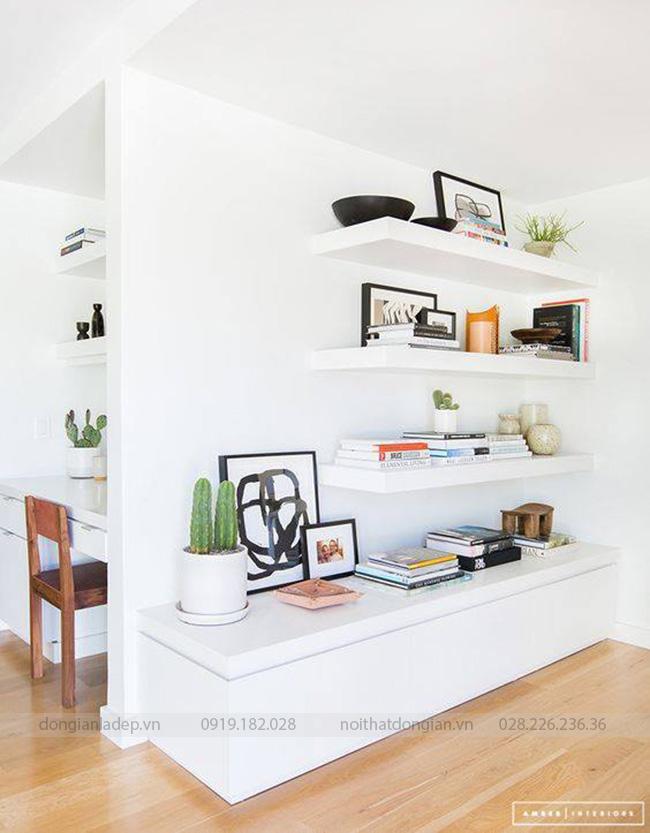Set 4 kệ sách treo tường thanh ngang 80x20cm cho góc đọc sách
