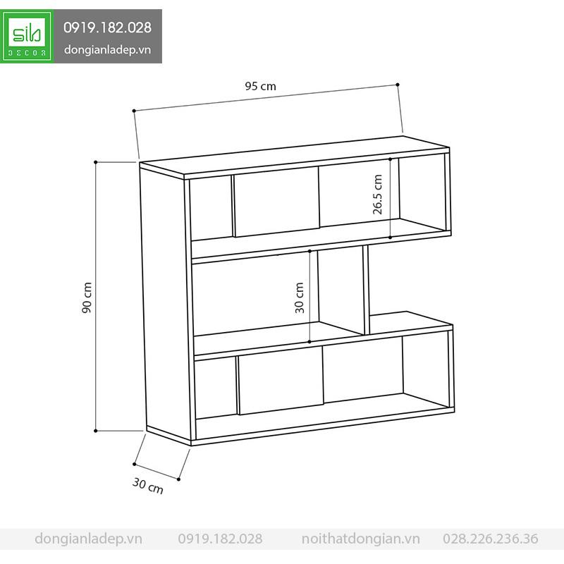 Kích thước kệ gỗ trang trí phòng khách KS226