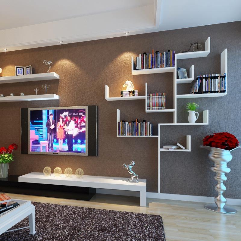 Kệ gỗ treo tường hình cây màu trắng cho phòng khách