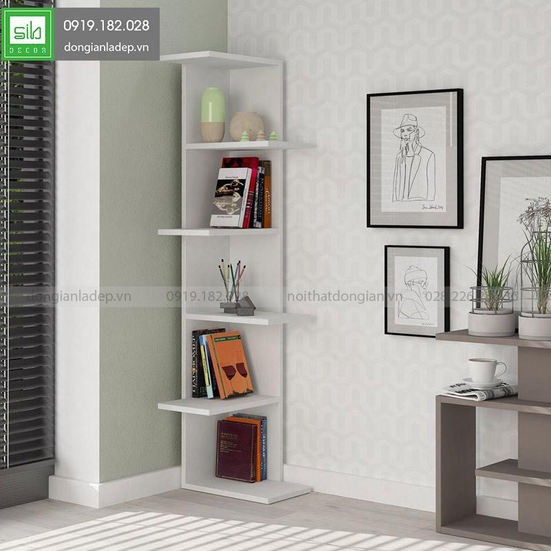 Kệ gỗ góc tường màu trắng