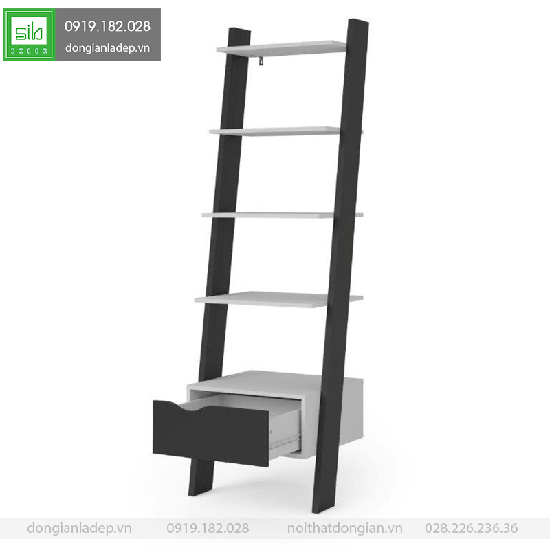 Kệ gỗ bậc thang màu trắng đen đơn giản và tinh tế.