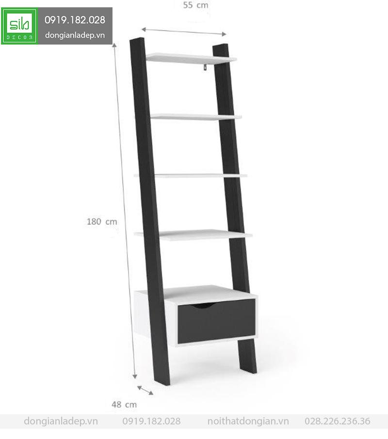 Kích thước của kệ gỗ bậc thang KS235