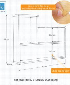 Kích thước chi tiết kệ sách treo tường KT181