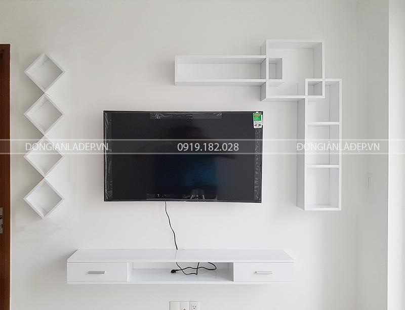 Bộ kệ tivi treo tường FULL trắng tinh tế, sang trọng với chất liệu sơn 2K cao cấp