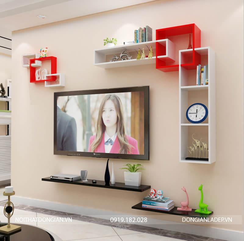 Bộ kệ trang trí tivi treo tường BST69 màu trắng đỏ (option 1)