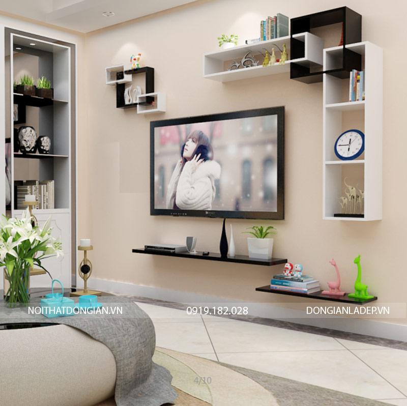 Bộ kệ trang trí tivi treo tường BST69 màu trắng đen (option 1)