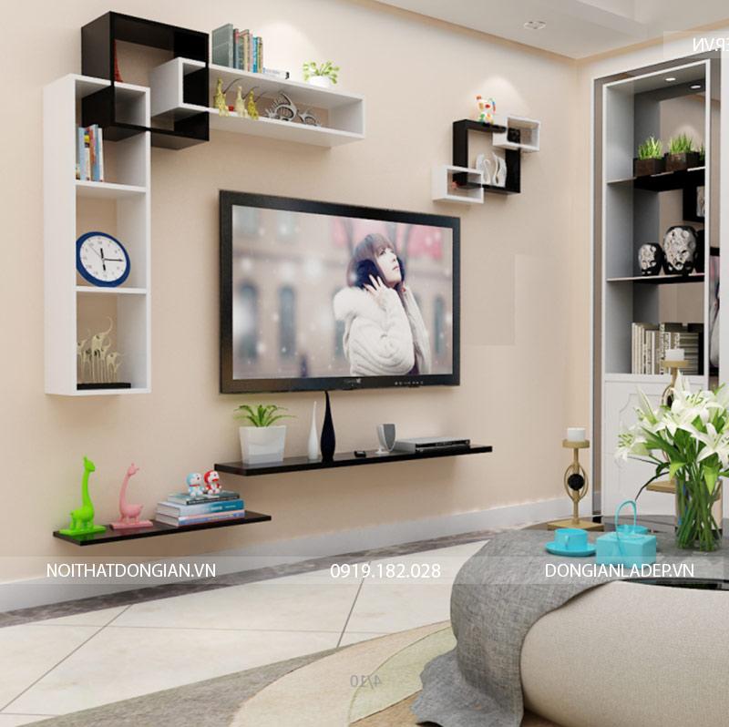 Bộ kệ trang trí tivi treo tường BST69 màu trắng đen (option 2)