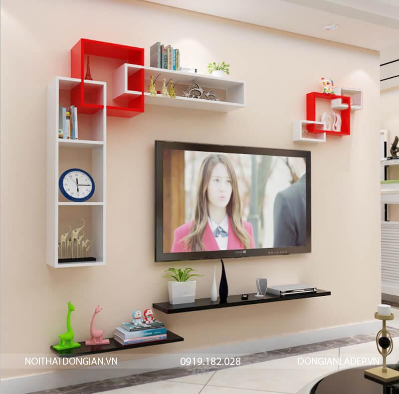 Bộ kệ trang trí tivi treo tường BST69 màu trắng đỏ (option 2)