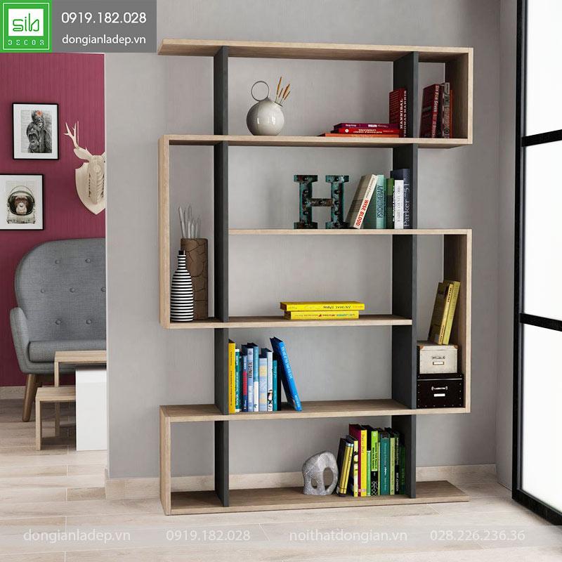 Giá sách gỗ KS227 màu đen kết hợp với vân gỗ sồi cho phòng khách sáng tạo.