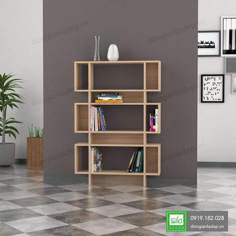 Kệ sách KS251 đơn giản màu vân gỗ sồi cho phòng khách