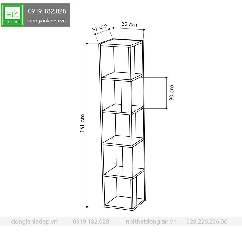 Kích thước của kệ gỗ góc tường