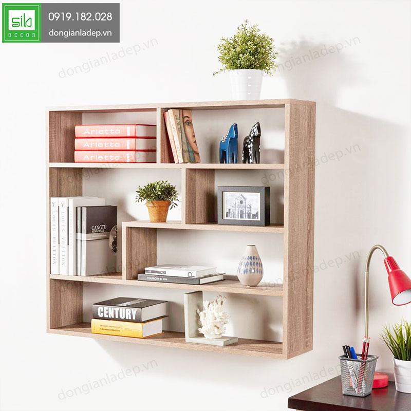 Kệ sách treo tường màu vân gỗ là sự lựa chọn tối ưu cho phòng đọc