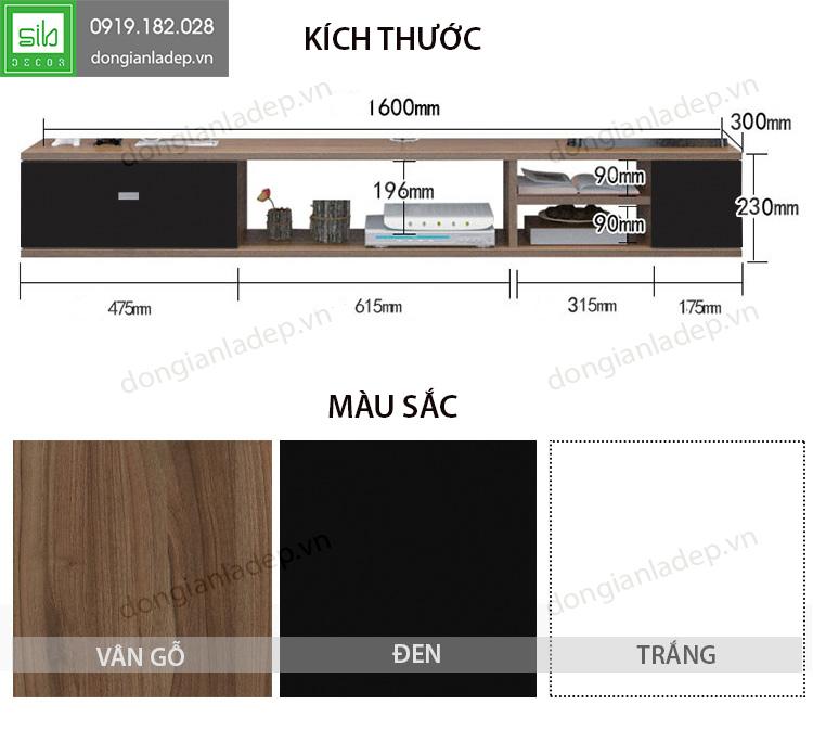 Kích thước kệ tivi treo tường TV110