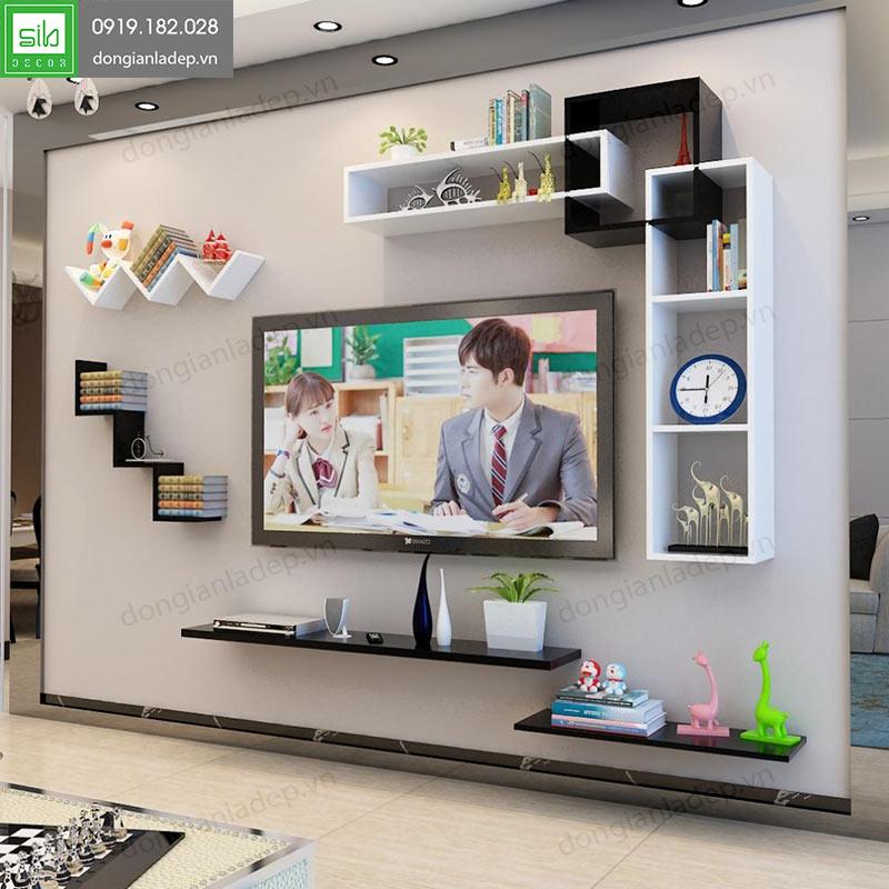 Bộ kệ trang trí tivi treo tường phòng khách hiện đại