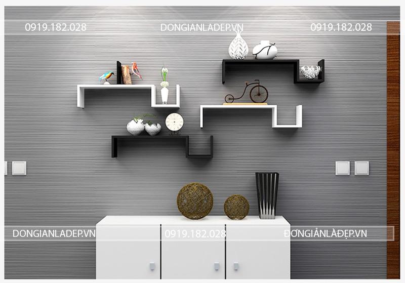 4 chiếc kệ treo tường dấu ngã free style trắng đen đơn giản