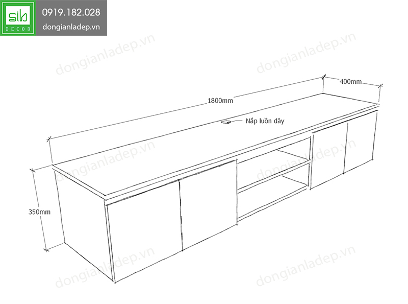 Kích thước của kệ tivi treo tường phòng khách TV099