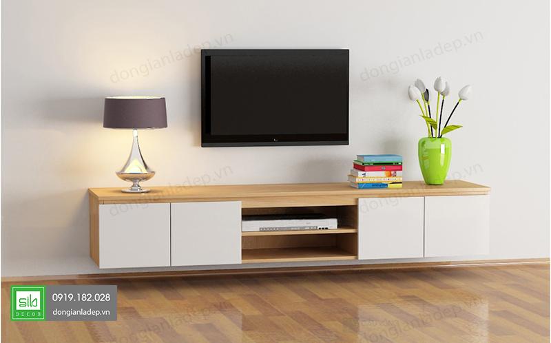 Kệ tivi treo tường phòng khách hiện đại
