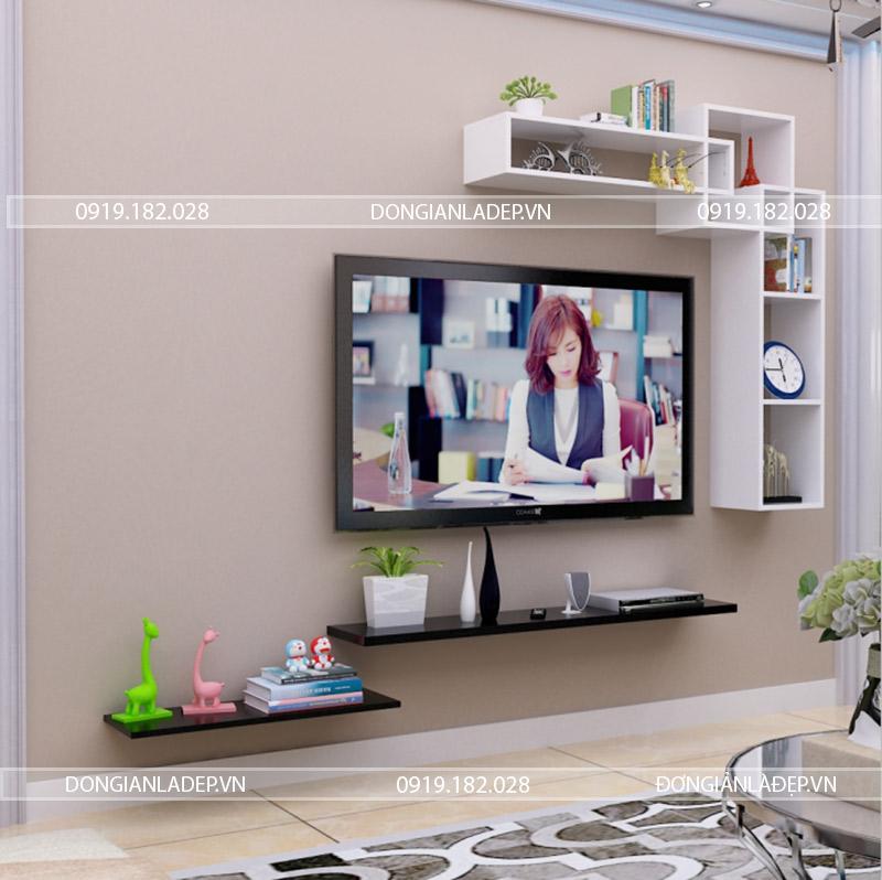 Kệ gỗ đơn giản, kết cấu chắc chắn, thiết kế cân đối cho phòng khách thêm yêu