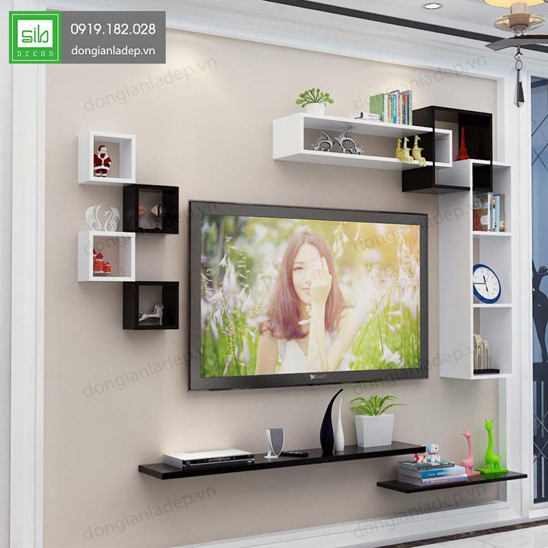 Bộ kệ tivi treo tường phòng khách BST72