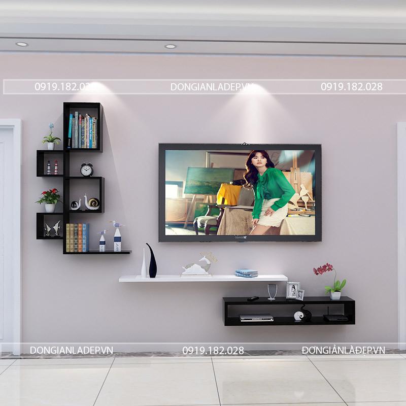 Trắng - Đen. Sự tinh tế trong nghệ thuật phối màu với bộ kệ tivi phòng khách