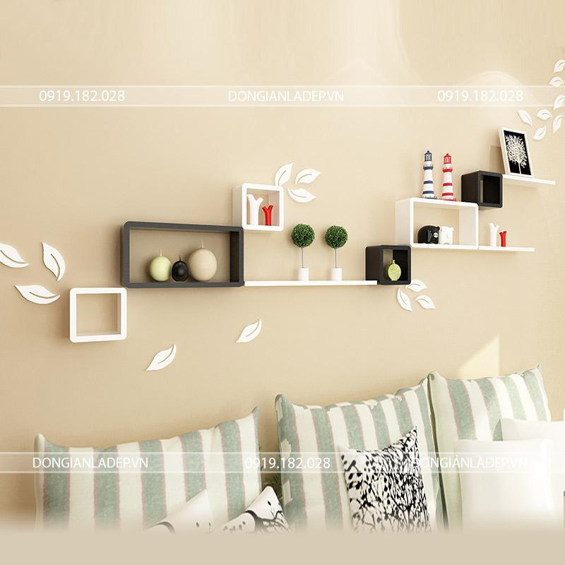 Kệ trang trí treo tường phòng khách chữ nhật và ô vuông