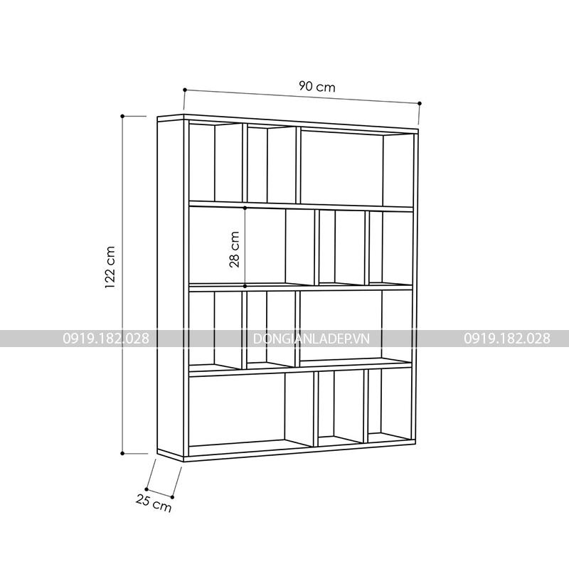 Kích thước giá sách gỗ KS512: 122 x 90 x 25cm (Cao x Rộng x Sâu)
