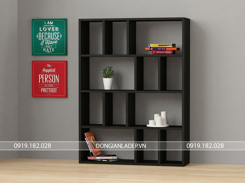 Kệ sách gỗ màu đen hiện đại