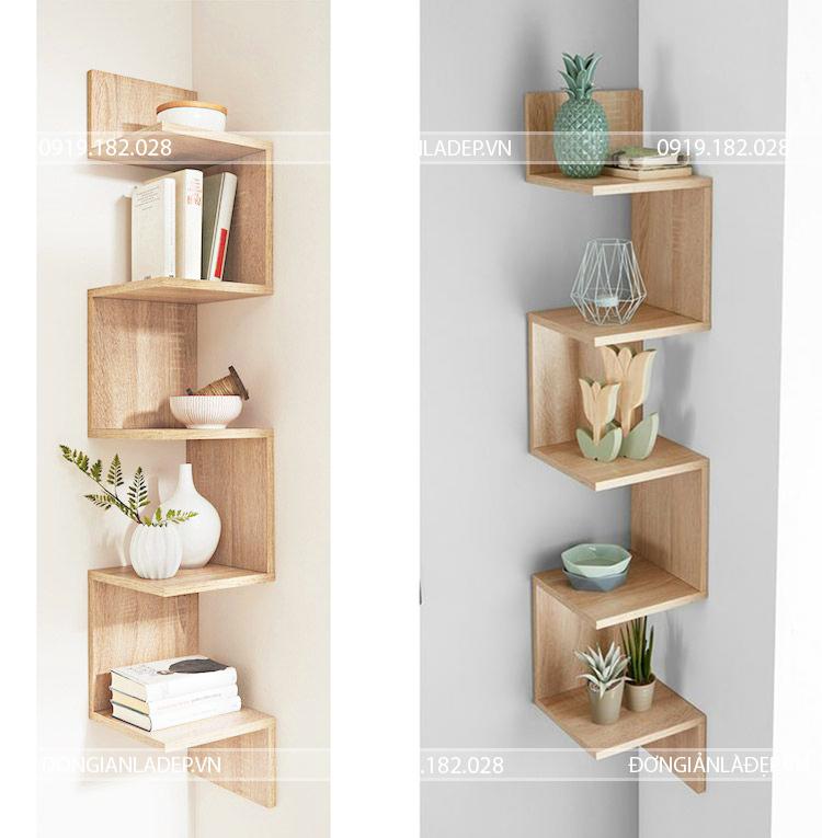 Kệ gỗ góc cao 160cm, rộng 30cm, mỗi tầng cao 30cm cho khả năng để sách và đồ trang trí tốt nhất.