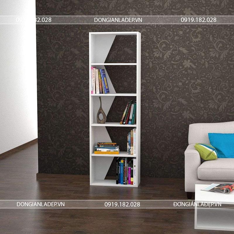 Kệ sách KS033 màu trắng tinh tế cho phòng khách thêm xinh