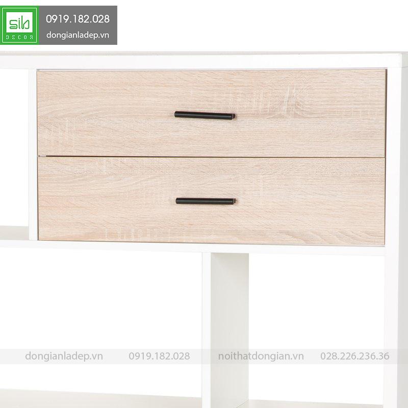 2 ngăn kéo màu vân gỗ kết hợp tay nắm màu đen của tủ sách