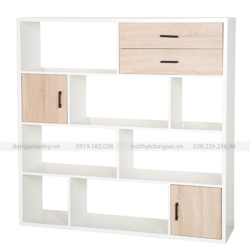 Tủ sách có 2 cánh và 2 ngăn kéo được thiết kế khéo léo, phục vụ cho nhiều nhu cầu sử dụng.