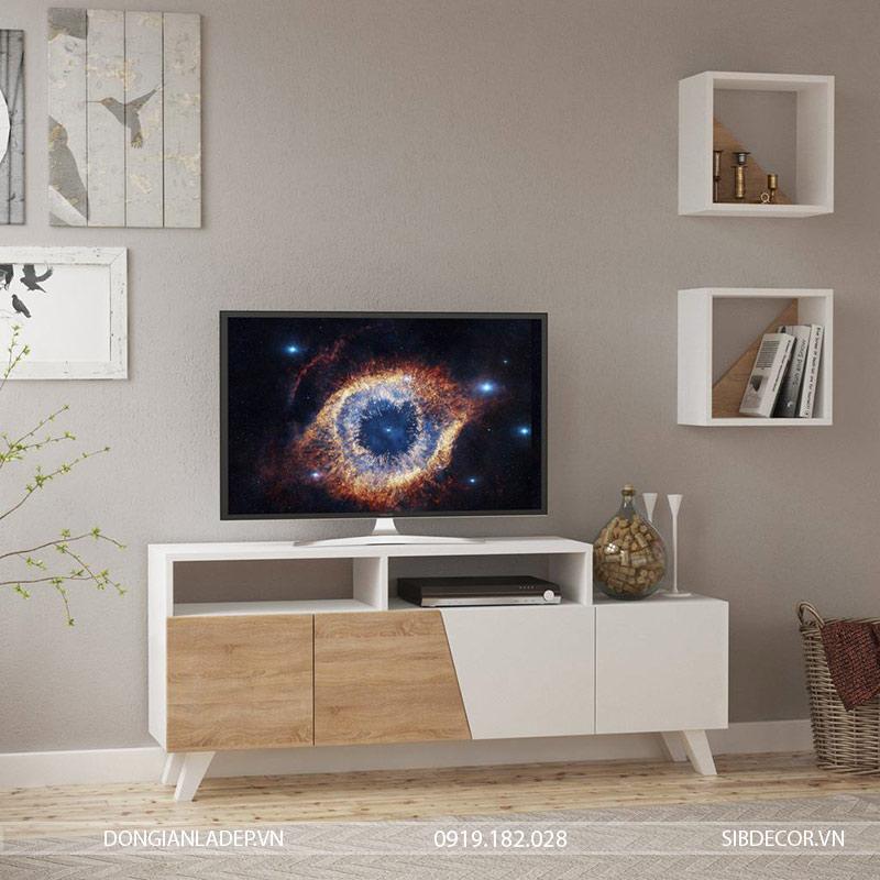 Sự kết hợp giữa màu trắng vàn vân gỗ sồi cho một chiếc kệ tivi đẹp