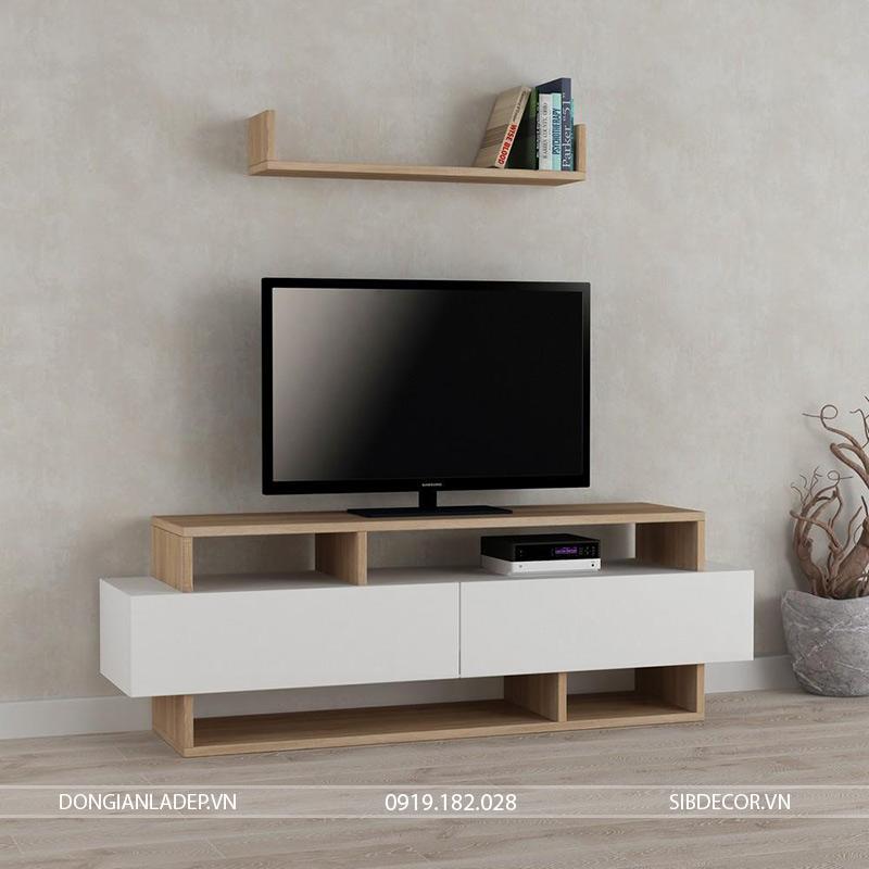 Kệ tivi với màu trắng và vân gỗ sồi kết hợp