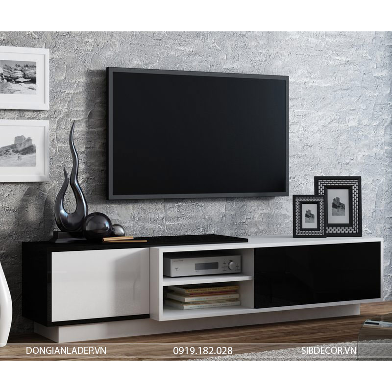 Kệ tivi TV19 màu trắng kết hợp màu đen
