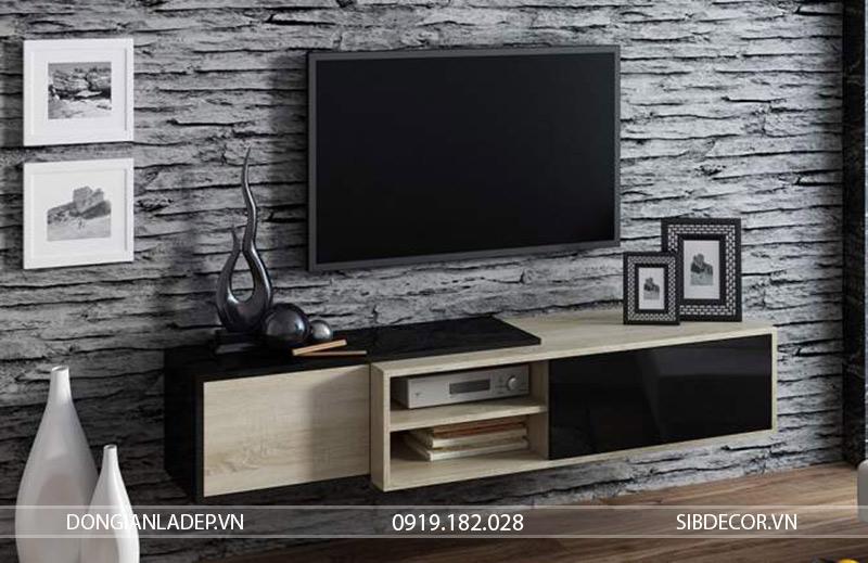 Kệ tivi TV19 màu đen + gỗ sồi treo tường