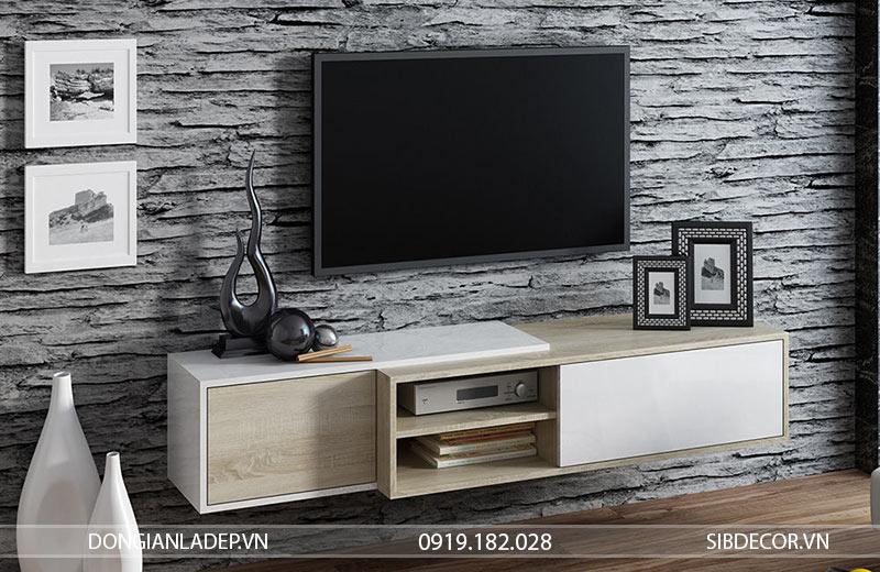 Kệ tivi trắng + gỗ sồi treo tường. Một lựa chọn tối ưu không gian.