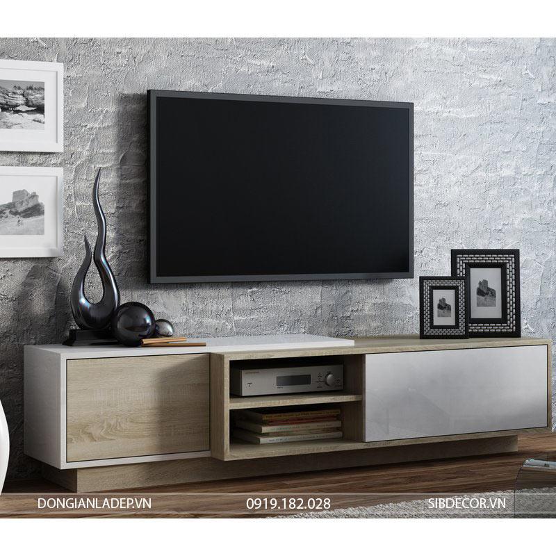 Kệ tivi hiện đại TV19 màu trắng kết hợp màu gỗ sồi