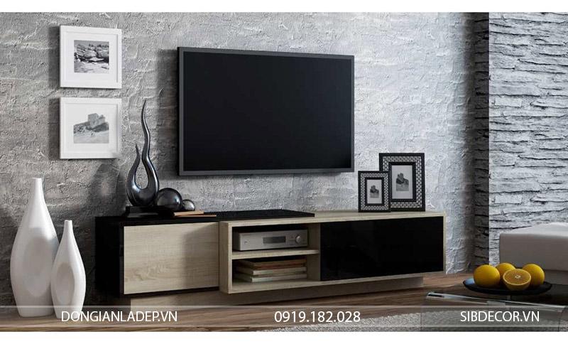 Kệ tivi TV19 màu đen + gỗ sồi để sàn