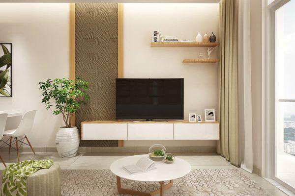 Kệ tivi màu trắng kết hợp vân gỗ sang trọng, hợp thời