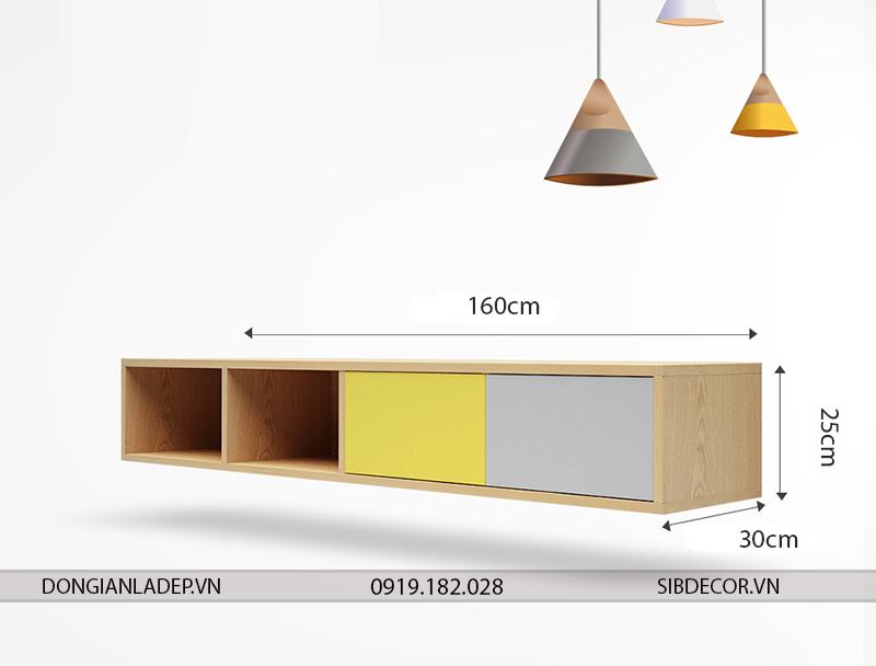 Kích thước kệ tv gắn tường TV097