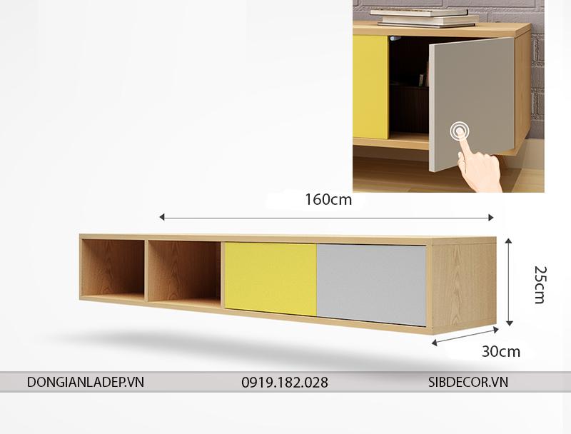 Kích thước kệ gắn tường TV097