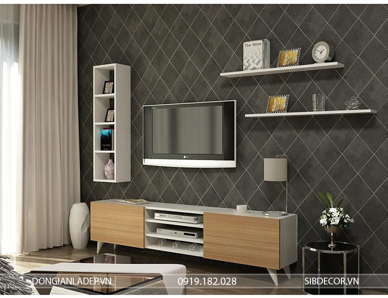 Kệ tivi để sàn nổi bật với sự kết hợp của màu trắng và màu gỗ sồi.