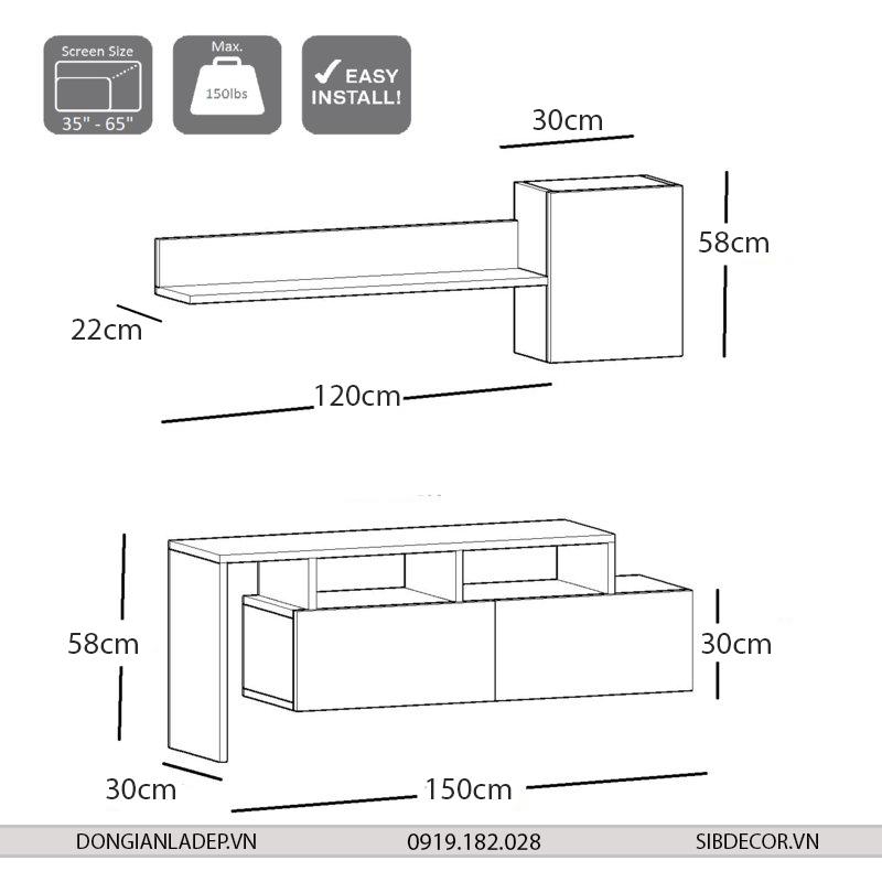 Kích thước kệ tivi để sàn và kệ gỗ trang trí treo tường